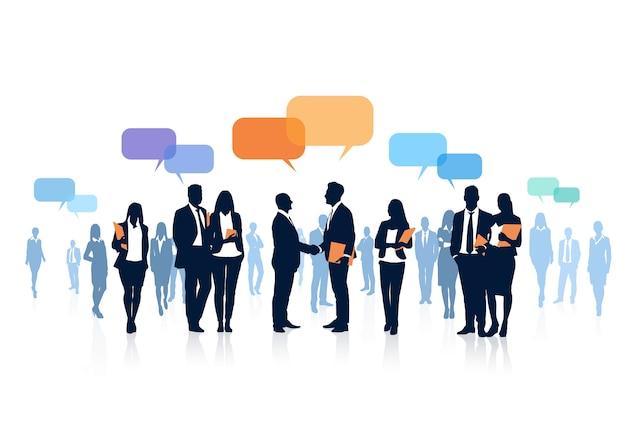 Bolha de chat de equipe de pessoas de negócios de silhueta Vetor Premium