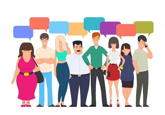 Bolha de comunicação de bate-papo de grupo de pessoas, empresários discutindo comunicação