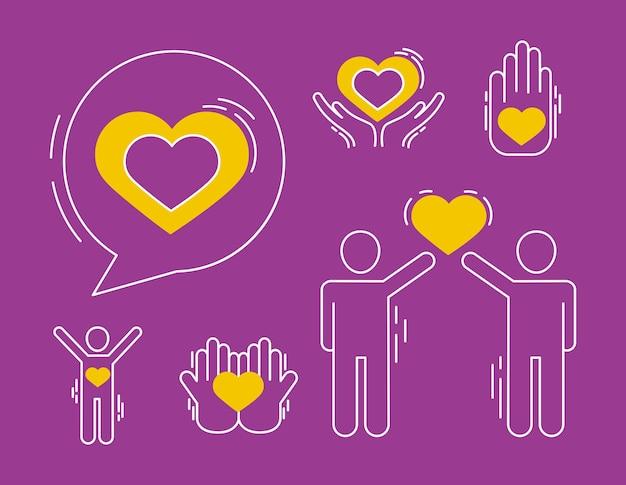 Bolha de coração e ícones de cuidados