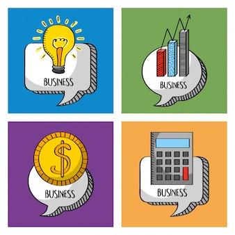 Bolha de discurso de negócios de coleção com calculadora de dinheiro de idéia