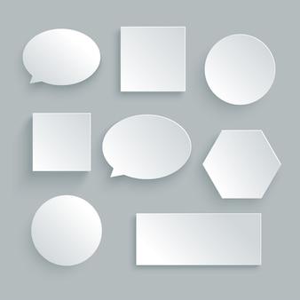 Bolha de discurso de papel na cor branca