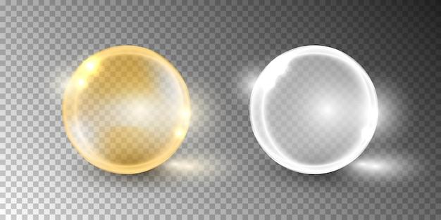 Bolha de óleo, cápsula de vitamina isolada em fundo transparente.