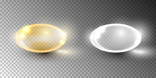 Bolha de óleo, cápsula de vitamina isolada em transparente