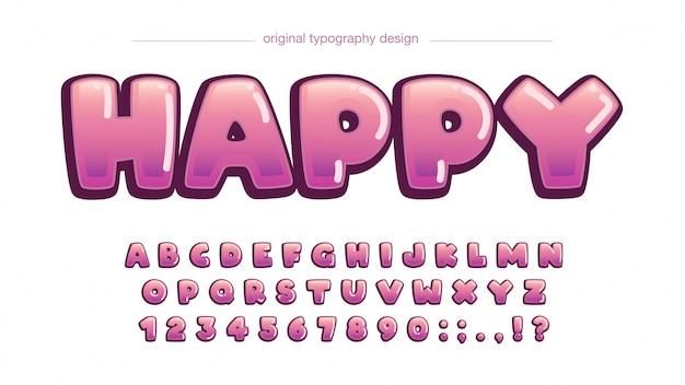 Bolha-de-rosa cartoon exibição tipografia