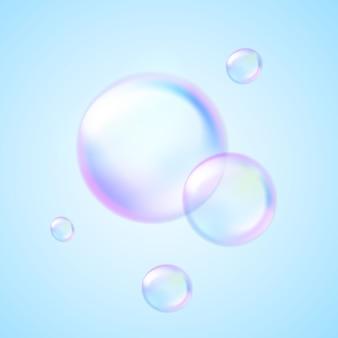 Bolha de sabão na água azul