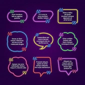 Bolha de texto em néon. cite os quadros com vírgulas, texto e modelo de fala direta. ilustração de vírgulas citação de bolha, comentário de texto de fala