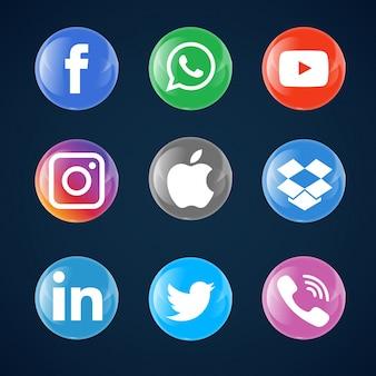 Bolha de vidro dos ícones dos media sociais