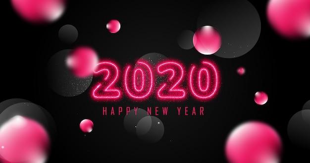 Bolha decoração feliz ano novo 2020 fundo