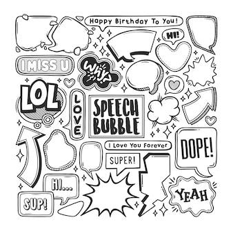 Bolha discurso mão desenhada doodle colorir