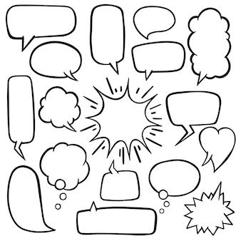Bolha do discurso com mão desenhada doodles vector