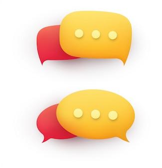 Bolha do discurso da mensagem de bate-papo 3d em amarelo e vermelho em um fundo branco.
