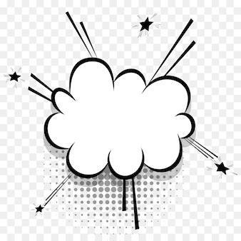 Bolha do discurso de quadrinhos para o projeto de texto pop art. nuvem de diálogo branca vazia