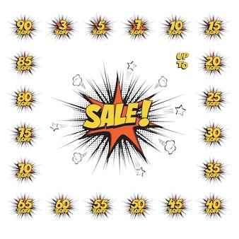 Bolha do discurso de texto em quadrinhos de venda com conjunto de grande desconto, ícone de nuvem de sopro de efeito sonoro isolado.