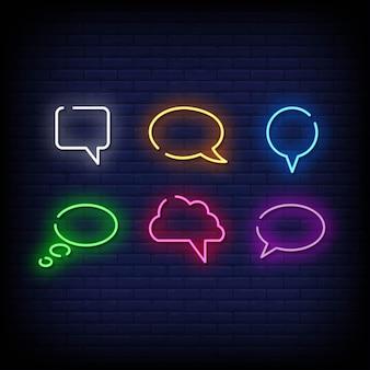 Bolha do discurso símbolo estilo de sinais de néon