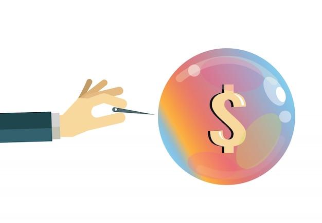 Bolha econômica. conceito de crise financeira. elementos de design planos. ilustração vetorial