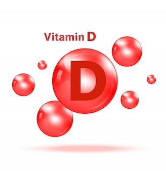 Bolha gráfica da medicina da vitamina d na ilustração branca do fundo. cuidados de saúde e design de conceito médico.