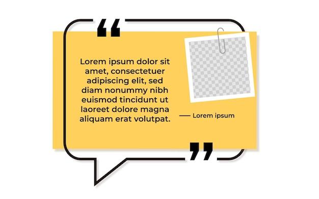 Bolha plana para citação com faixa amarela