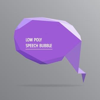 Bolha roxo do discurso low poly