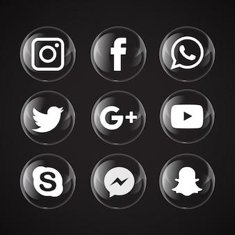 Bolha transparente ícones de mídia social