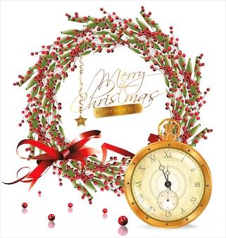 Bolha vermelha guirlanda de natal e relógio antigo dourado