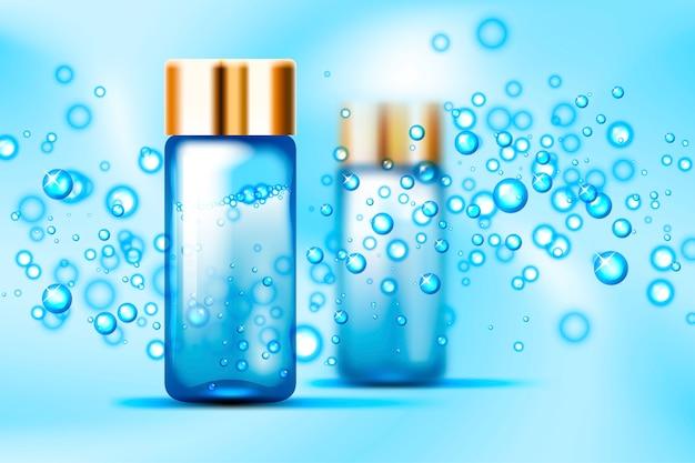 Bolhas azuis e maquete de garrafas de vidro de perfume no espaço abstrato