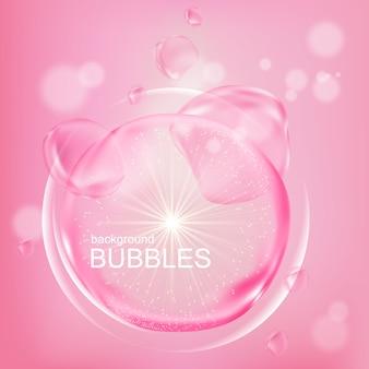 Bolhas cor de rosa com essência de água em design plano