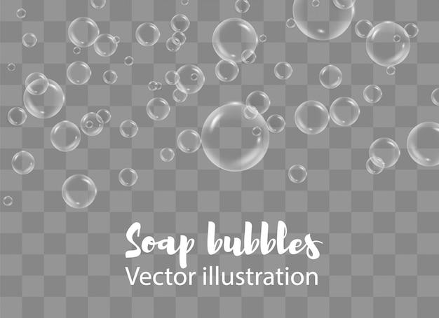 Bolhas de água branca com conjunto de reflexão