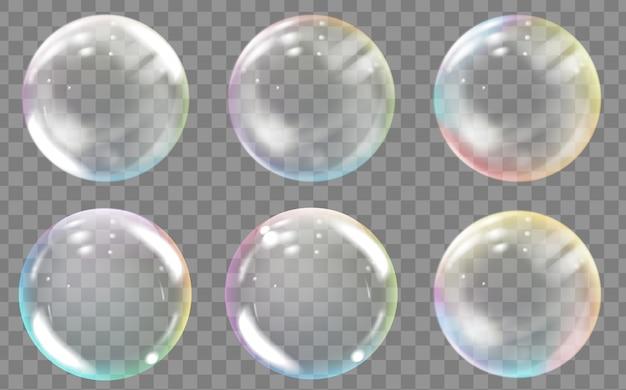Bolhas de água ou sabão coloridas transparentes.