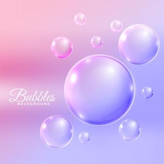Bolhas de água transparente voando fundo