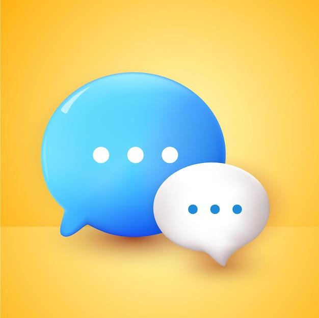 Bolhas de bate-papo 3d brancas e azuis mínimas no conceito de fundo amarelo de mensagens de mídia social
