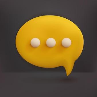Bolhas de bate-papo 3d mínimas amarelas sobre fundo branco. conceito de mensagens de mídia social. 3d render ilustração estilo cartoon