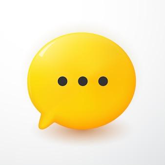 Bolhas de bate-papo 3d mínimas amarelas sobre fundo branco. conceito de mensagens de mídia social. ilustração 3d render