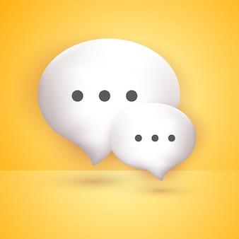 Bolhas de bate-papo brancas mínimas 3d no conceito de fundo amarelo de mensagens de mídia social