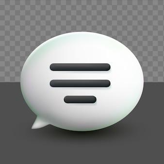 Bolhas de bate-papo de texto branco mínimo 3d em fundo transparente