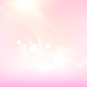 Bolhas de bokeh e flash de sol sobre fundo azul