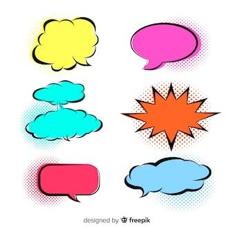Bolhas de discurso coloridas brilhantes variedade
