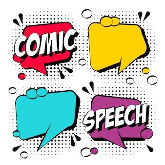 Bolhas de discurso cômicas coloridas