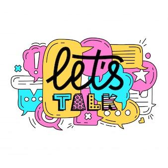 Bolhas de discurso de diálogo colorido com ícones e texto permite falar
