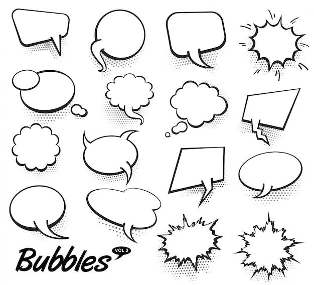 Bolhas de discurso de texto em quadrinhos de vetor