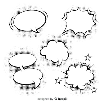 Bolhas de discurso em quadrinhos em branco de formas diferentes