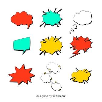 Bolhas de discurso em quadrinhos em forma de colorido e exclusivo