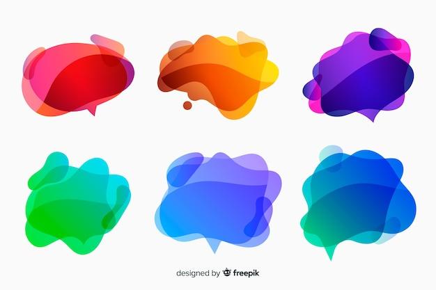Bolhas de discurso líquido gradiente colorido