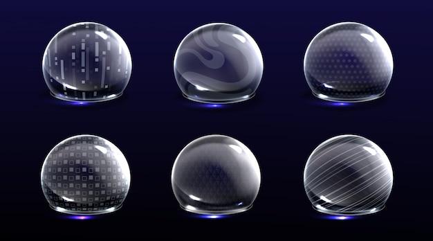 Bolhas de escudo de força, várias esferas de brilho de energia