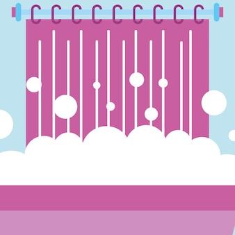 Bolhas de espuma de banheira e cortina de banheiro