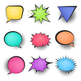 Bolhas de fala em quadrinhos retrô cor brilhante de malha