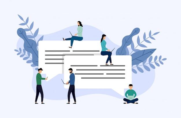 Bolhas de mensagem bate-papo, pessoas conversando on-line, ilustração em vetor conceito negócio