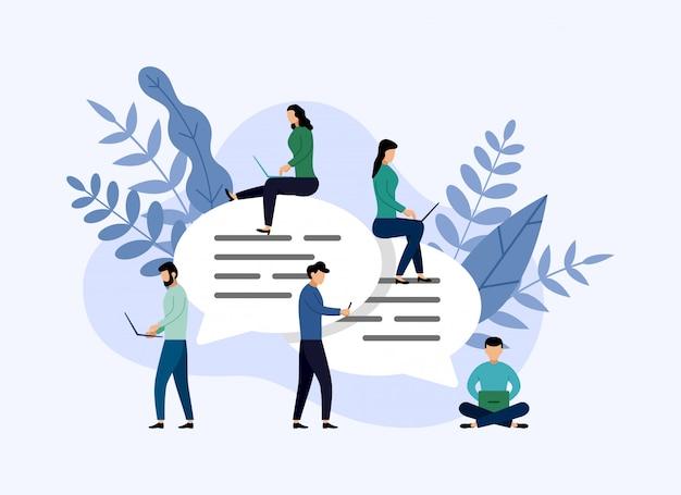 Bolhas de mensagem chat, pessoas conversando on-line, ilustração de negócios
