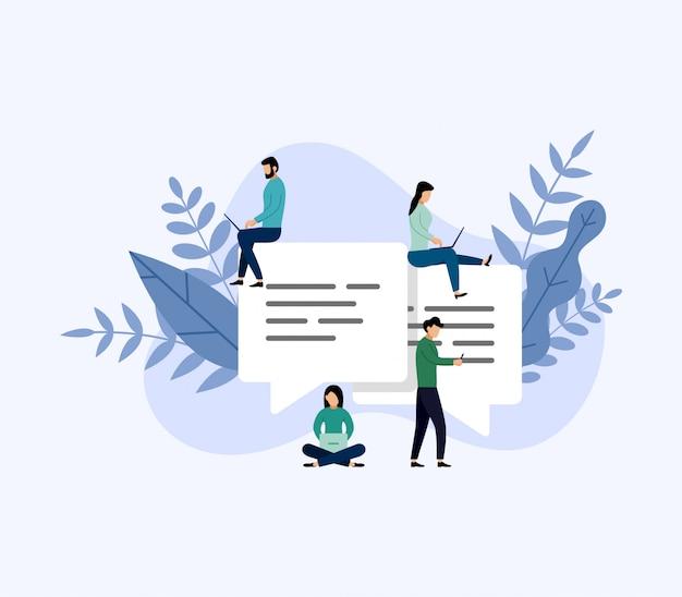 Bolhas de mensagem chat, pessoas conversando on-line, ilustração em vetor negócios conceito