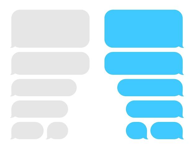 Bolhas de mensagem de caixa de bate-papo balão mensageiro tela modelo vetor diálogo plano aplicativo de mídia social ...