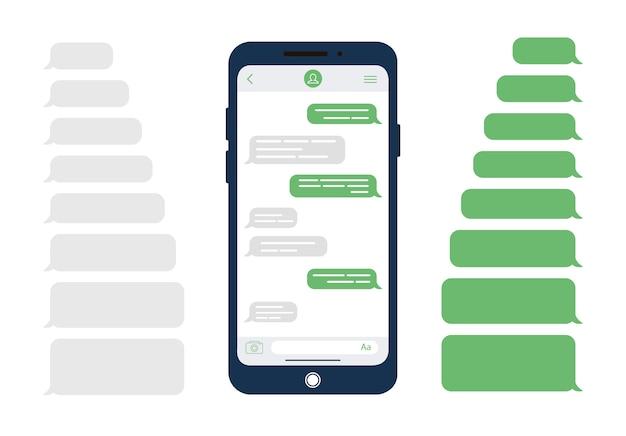 Bolhas de mensagem. modelo de design para o chat do messenger ou site. ilustração moderna em estilo simples.